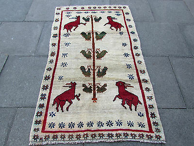 Old Traditional Hand Made Persian Oriental Gabbeh Rug Wool Grey Cream 180x105cm
