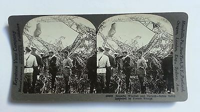 View WW1 Zeppelin Wrecked & Burned Vintage Stereo Photograph HS