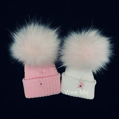Lovely Baby Girl's Faux Fur Pompom Hat/White/Pink/N.B.-2Months up to 3 Years
