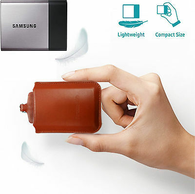 Samsung T3 Portable SSD Natural Cowhide Leather Brown Pouch Case