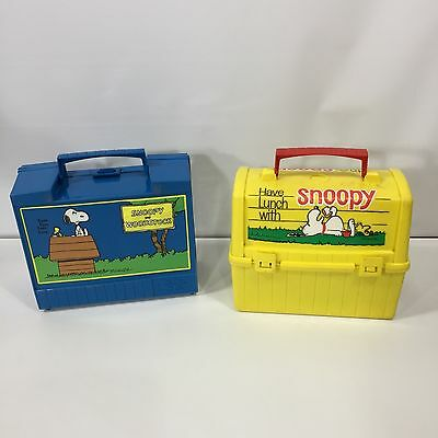 Lot of 2 Vintage 1968 Peanuts Snoopy Plastic Lunch Box Boxes Thermos Blue Yellow