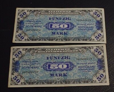 2x consecutive GERMANY 50 Mark 1944  Military Currency WW2 V about EF