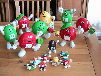 M&M's Sweet / Candy Dispensers Bundle of 9 - Vintage 1991 + 7 Figures - 16 Items