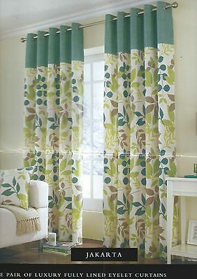 Floral Teal Green Eyelet Ring Top Fully Lined Ready Made Curtains