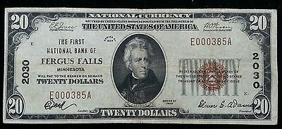 1929 $20 First National Bank of Fergus Falls MN National Banknote Charter 2030
