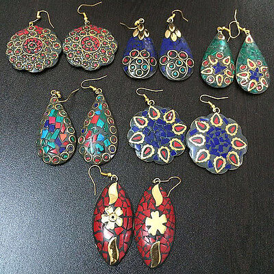 Sublime 6 Pcs Mix Gemstone Nepali  Solid Brass Wholesale Earrings Lot  S0743