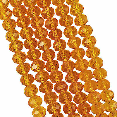 FACETED RONDELLE CRYSTAL GLASS BEADS 8x6mm Topaz - 50 BEADS