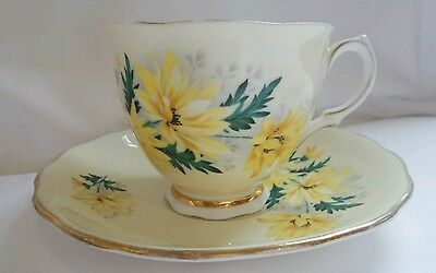 Vintage Colclough Teacup and Saucer Yellow flowers Fine Bone China 8177 England