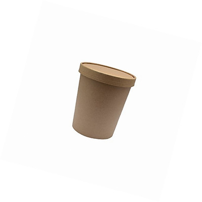 PacknWood Round Kraft Soup Container Bucket with Paper Vented Lid, 24 oz. Capaci