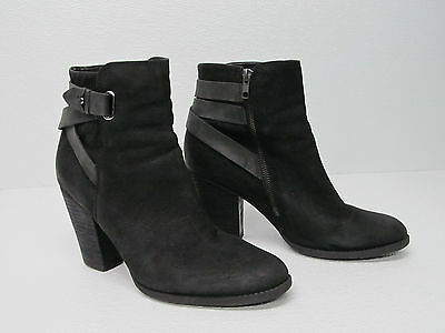 Aldo Ankle Boots Black Leather  Buckle Straps Size Women's 11 M
