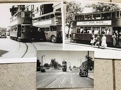 3 photographs of old trams 1950s London and Birmingham