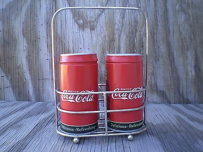 Coca-Cola Tin Salt & Pepper Shaker Set With Wire Carry Rack