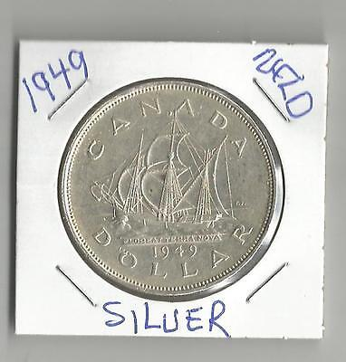 """1949 Silver Dollar From Canada  """" NFLD """"  Toned"""