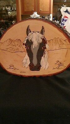 2002 pyrography wood burning horse wall plaque western decor