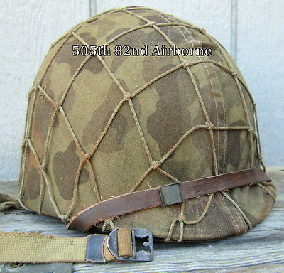 WWII M-1 USMC Helmet Seaman Paper Co. Liner Front Seam Marine Camo Cover Net