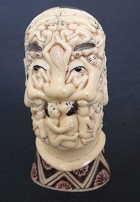 Japanese ivory colored bone netsuke/okimono-S Dali  'Voluptuous Death' Nude Skul