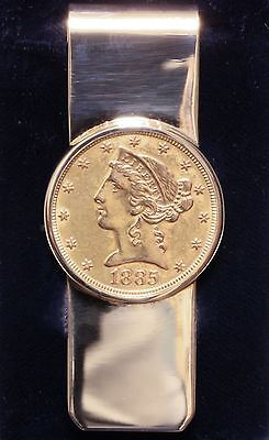 Tiffany and Co. 14K Solid Gold, 5 Dollar Coin Money Clip In Beautiful Condition