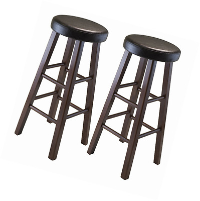 Winsome Wood Marta Assembled Round Bar Stool with PU Leather Cushion Seat and Sq