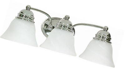 Nuvo Lighting 60/338 Empire Three Light Vanity with Alabaster Glass, Polished Ch