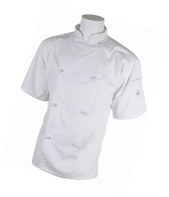 Mercer Culinary M61022WHM Genesis Unisex Short Sleeve Chef Jacket with Cloth Kno