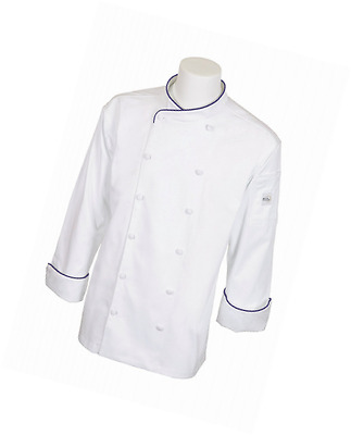 Mercer Culinary M62020WRBXS Renaissance Men's White Scoop Neck Jacket with Royal
