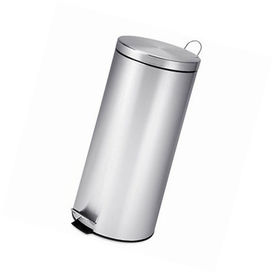 Honey-Can-Do TRS-02110 Round Stainless Steel Step Trash Can with Liner, Chrome,