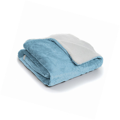 Lavish Home Fleece Blanket with Sherpa Backing, Twin, Blue