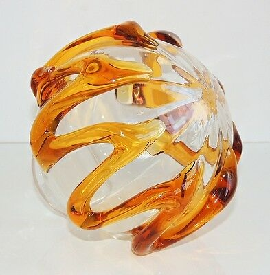 Vintage Deco / Nouveau Glass & Amber Glass Round Table Lamp Shade