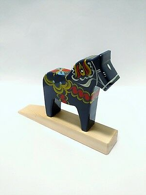 BLUE Swedish Dala Horse Wooden DOOR STOP, Hand Painted Folk Art by Nils Olsson