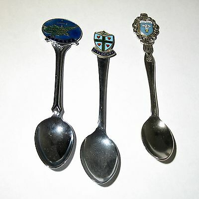 3 x Crested Tea Spoons Vintage Silver Plate