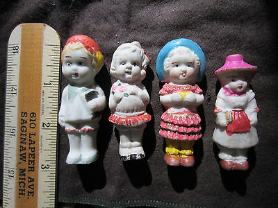 Vintage 4 Piece Group Of Frozen Charlotte Penny Bisque Dolls Made In Japan