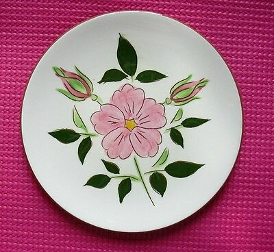 """Stangl Mid Century Wild Rose Bread Plate Pink Flowers Ceramic Hand Painted 6"""""""