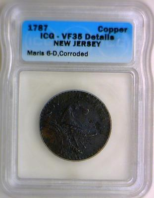 1787 New Jersey Copper Colonial; ICG VF-35 Details