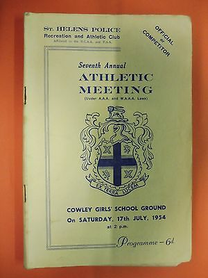 St Helens Police Recreation & Athletic club Athletics meeting  17 july 1954