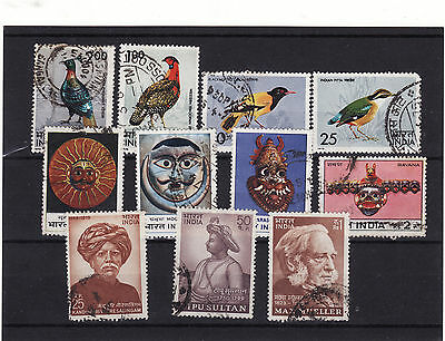India - Early 1970S 3 Used Sets Odd Stamp Still Has Paper On Back