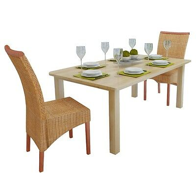 New Set of 2 Handwoven Rattan Dining Chairs with Decorative Wooden Strip Mango