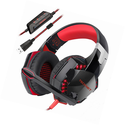 Gaming Headset,TeckNet 7.1 Channel Surround Sound Gaming Headset Headband Over-E