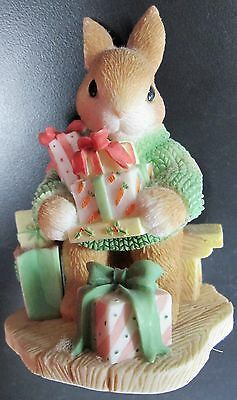 "Enesco My Blushing Bunnies ""bless Some-Bunny With Holiday Cheer"" Figure 1998"