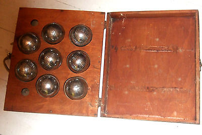 8 old boxed  Boules de Petanque great rope handle