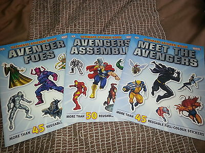 3 x Avengers Sticker Books, more than 140 stickers, Brand New, DK