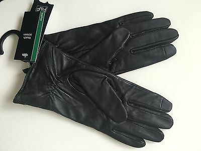 Black Leather Gloves With Touchscreen Technology