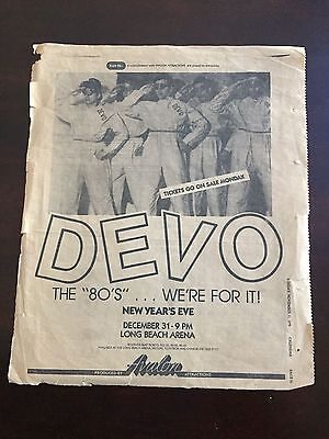 Ultra Rare Devo Duty Now... Tour Full Page 1979 Ad New Years Eve Arena Show !!!