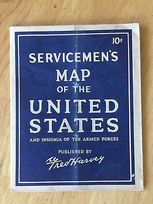 VTG Servicemen's Map of the United States & Insignia of the Armed Forces Harvey