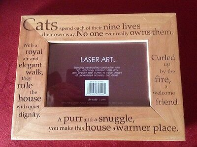 "Wooden 4 X 6"" Photo Frame Cats"