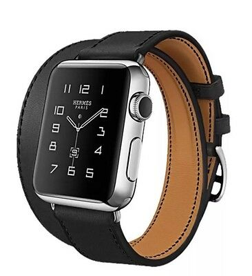 Apple Watch Double Tour Strap For iWatch 38mm Black Hermès Style