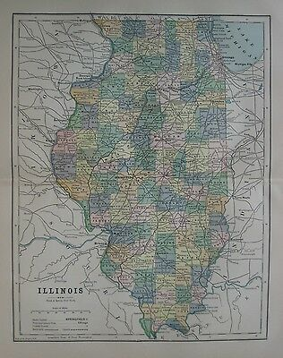 Original 1889 Map ILLINOIS Railroads White & Colored County Population Tables