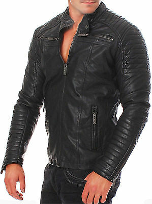 Mens Vintage Black Genuine Leather Jacket Slim Fit Real Biker New