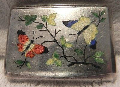 Antique Russian Sterling Silver 925 Snuff Pills Medicine Box Butterfly Jewelry