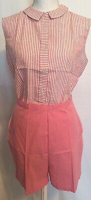 Rare Deadstock 1950's-1960's Pink Cotton Bermuda Shorts And Seersucker Blouse