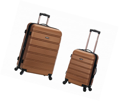 ROCKLAND 20 Inch 28 Inch 2PC Expandable ABS Spinner Set, Brown, One Size